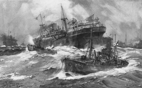 Picture war, pencil, ships, WW2, the convoy, court, sea, figure, wave, shopping, escort