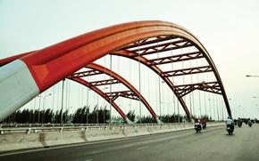 Picture red, river, bridge, water, lake