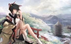 Picture girl, ears, anime, art, kikivi