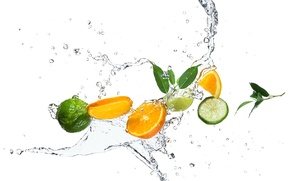 Picture leaves, citrus, squirt, slices, water, orange, lime, drops
