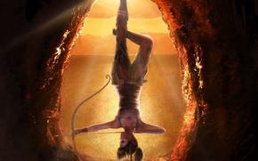 Picture girl, rope, bow, upside down, hanging, Lara Croft, Lara Croft, Tomb raider, art. the game