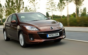 Picture auto, speed, sport, Mazda, brown, hatchback