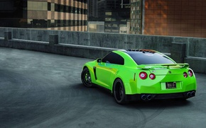 Picture green, Parking, sports car, r35, nissan gtr