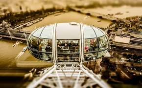 Wallpaper cars, The Millennium wheel, The Hungerford Bridge, London, people, the river Thames, the city, boats, ...