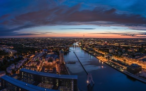 Picture tower, river, Germany, sunset, evening, Berlin
