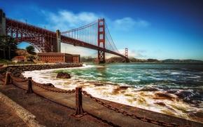 Picture San Francisco, Golden Gate Bridge, promenade, San Francisco, the Golden Gate Strait, The Golden Gate …