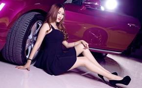 Picture Bentley, Continental, Phantom, Girl, Purple, Wheel, Hair, Door, Hyun Lulu, Beatiful