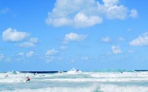Wallpaper wave, clouds, Sea, surfer