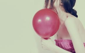 Picture girl, background, pink, Wallpaper, mood, dress, brunette, full screen, HD wallpapers, Mar, Marik