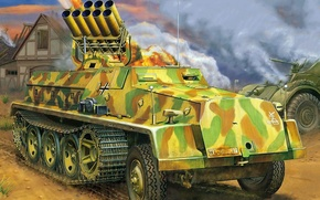 Wallpaper figure, Sd.Car.4/1, Tank launcher, 15cm, art, 42.Sf, German self-propelled MLRS during the Second world war