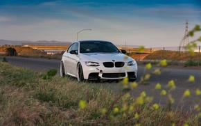 Picture road, white, bmw, BMW, the evening, white, roadside, e92