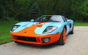 Picture Ford, Orange, Blue, Forest, GT