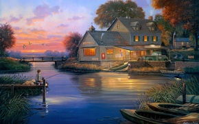 Wallpaper dog, bridge, painting, duck, George Kovach, Hunters Cove, lodge, Bay, boats, fisherman, house, the evening, ...