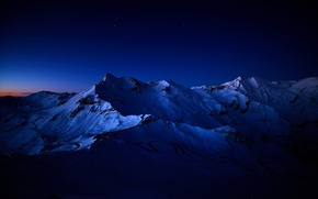Picture stars, snow, mountains, night