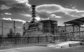 Picture the fence, b/W, Chernobyl, the sarcophagus, nuclear power plant, cat, unit