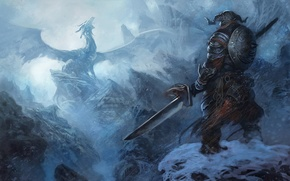 Wallpaper dragon, The Elder Scrolls, snow, mountains, Skyrim, warrior, armor