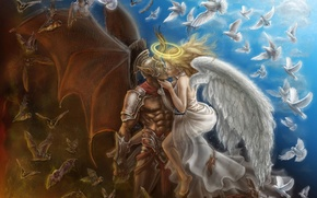 Picture wings, kiss, Angel, the demon, pigeons, horns, bats, halo