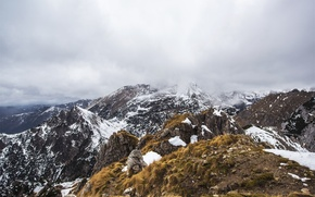 Picture the sky, clouds, snow, mountains, fog, tops, mountains