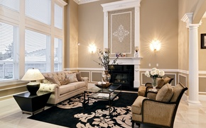 Picture flowers, design, carpet, lamp, pillow, chairs, fireplace, table, sofas, living room, sconce