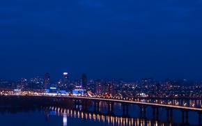 Picture road, night, lights, Kiev, Dnepr, Paton bridge