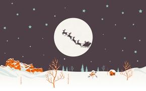Wallpaper wagon, Santa Claus, vector, holiday, Christmas Wallpaper, christmas decoration, happy new year, deer, new year, ...