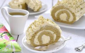 Picture tea, cream, dessert, biscuit, roll