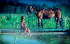 Picture girl, lake, horse