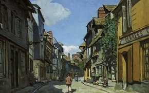 Picture street, home, picture, the urban landscape, Claude Monet, The Street of Bavolle at Honfleur