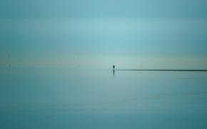 Picture sea, people, windmills