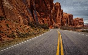 Picture road, asphalt, rocks, yellow stripe