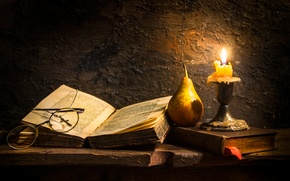 Picture candle, glasses, book, pear, wax, cross, Faith