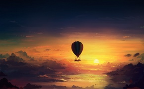 Picture the sky, clouds, sunset, art, romantically apocalyptic, alexiuss, apocalypse, Hot air balloon