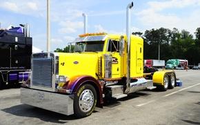 Picture Yellow, Truck, Peterbilt, Cool Paint