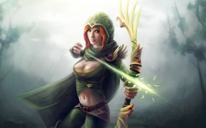 Picture forest, girl, magic, bow, Archer, art, hood, arrow, red, dota 2