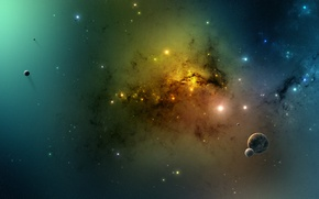 Picture stars, planet, galaxy