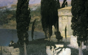 Picture oil, angel, statue, Canvas, Apollinary VASNETSOV, (1856-1933), Elegy