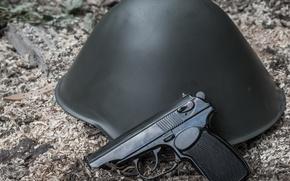 Picture gun, weapons, helmet, self-loading, Makarova, German Makarov