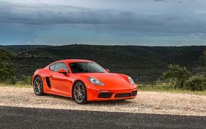 Picture Red, Porsche, Cayman, Car, 2017, Metallic, 718, S
