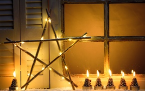 Picture winter, snow, New Year, Christmas, light, Christmas, night, window, Xmas, decoration, candle, lantern, Merry