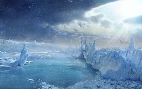 Wallpaper ships, Winter, ice
