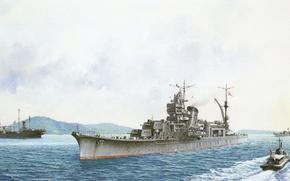 Picture ship, art, Navy, military, cruiser, Japanese, cruiser, WW2, IJN, Agano