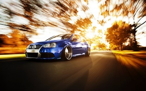 Picture road, autumn, tuning, in motion, VW Golf, volkswagen golf R32