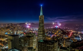 Picture the sky, night, the city, lights, holiday, building, home, skyscrapers, salute, lighting, CA, San Francisco, ...