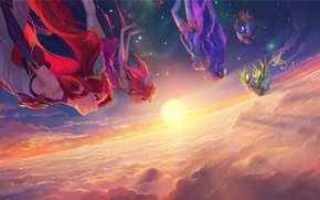 Picture the sky, clouds, girls, art, star guardian