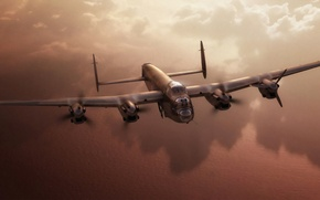 Picture war, art, painting, aviation, ww2, Avro Lancaster