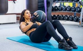 Wallpaper workout, brunette, abs, ball