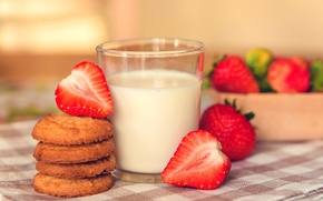 Picture background, widescreen, Wallpaper, food, Breakfast, milk, cookies, strawberry, berry, wallpaper, widescreen, background, sweet, full screen, …