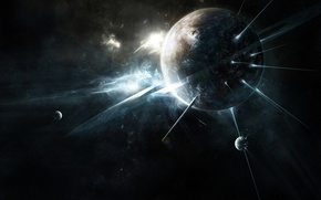 Wallpaper space, fantasy, planet