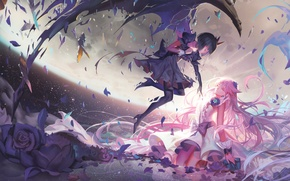 Picture the sky, clouds, flowers, the city, girls, height, wings, anime, art, dark precure, precure, heartcatch …