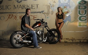 Picture sexy, chopper, bike, model, lady, babe, pose, Custom